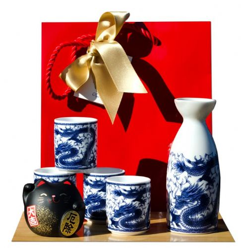 Gift Bag – Black cat & Dragon Sake set on white - Japanese 4 cups